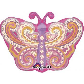 Palloncino Mylar 45 cm. Junior Shape Paisley Pink Butterfly