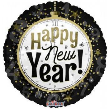 Palloncino Mylar 45 cm. New Year Clock