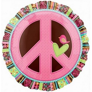 Palloncino Mylar 45 cm. Peace Hippie Chick Sign