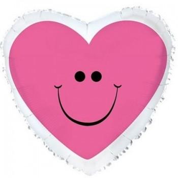 Palloncino Mylar 45 cm. Pink Smiley Heart