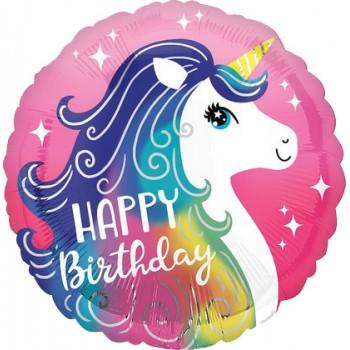 Palloncino Mylar 45 cm. Pink Unicorn Happy Birthday