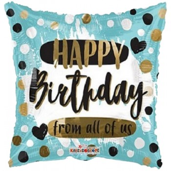 Palloncino Mylar 45 cm. Q - Happy Birthday From All Of Us