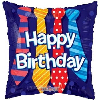 Palloncino Mylar 45 cm. Q - Happy Birthday Ties
