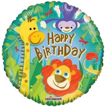 Palloncino Mylar 45 cm. R - Birthday Jungle
