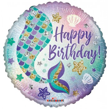 Palloncino Mylar 45 cm. R - Birthday Mermaid Holographic