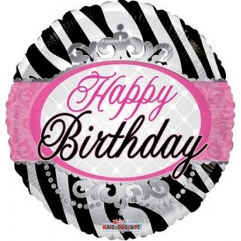 Palloncino Mylar 45 cm. R - Birthday Zebra Print