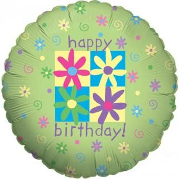 Palloncino Mylar 45 cm. R - Flowers & Phrases Birthday