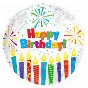 Palloncino Mylar 45 cm. R - Happy Birthday Day Sparkling Candles