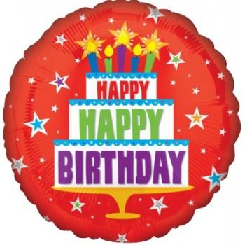 Palloncino Mylar 45 cm. R - Happy Birthday red Cake