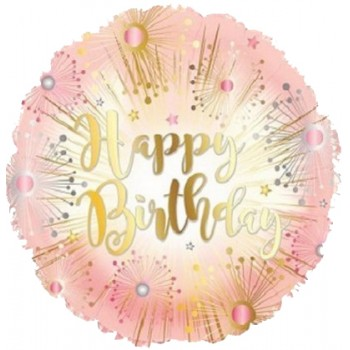 Palloncino Mylar 45 cm. R - Happy Birthday Rose Gold