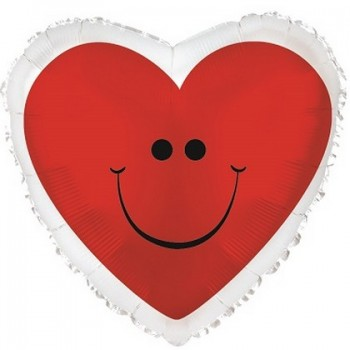 Palloncino Mylar 45 cm. Red Smiley Heart