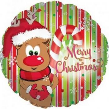 Palloncino Mylar 45 cm. Reindeer Merry Christmas