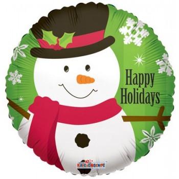 Palloncino Mylar 45 cm. Snowman w/ Snowflakes