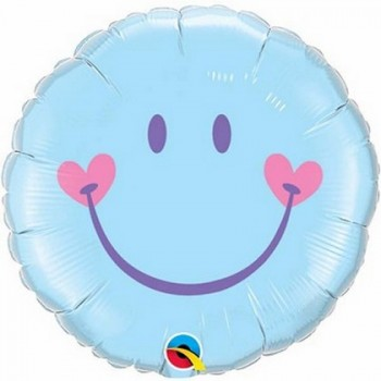 Palloncino Mylar 45 cm. Sweet Smile Face Blu
