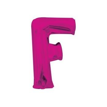 Palloncino Mylar Lettera F Media - 40 cm. Fucsia Anagram