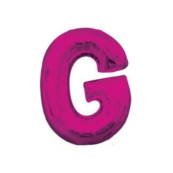 Palloncino Mylar Lettera G Media - 40 cm. Fucsia Anagram