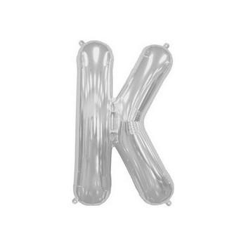 Palloncino Mylar Lettera K Media - 41 cm. Argento