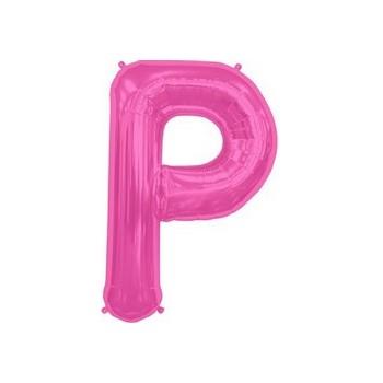 Palloncino Mylar Lettera P Media - 41 cm. Fucsia