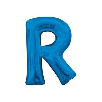 Palloncino Mylar Lettera R Media - 40 cm. Blu Anagram