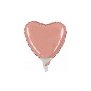 Palloncino Mylar Micro 10 cm. Cuore Rosa Antico