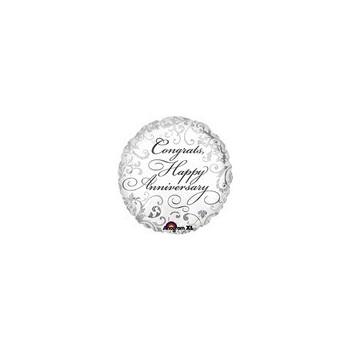 Palloncino Mylar Micro 10 cm. Elegant Congrats Anniversary