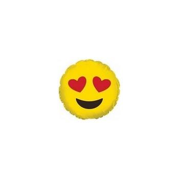 Palloncino Mylar Micro 10 cm. Emoticon Smile Heart Eyes