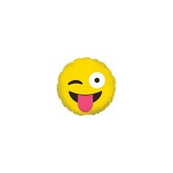 Palloncino Mylar Micro 10 cm. Emoticon Smile Wink & Tongue