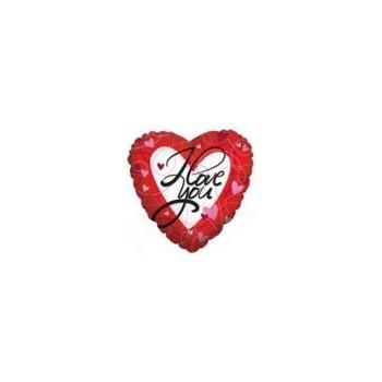 Palloncino Mylar Micro 10 cm. I love You Flying Swirls and Hearts
