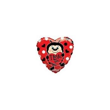 Palloncino Mylar Micro 10 cm. Lady Bug With Heart