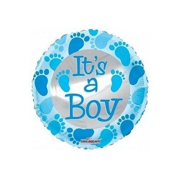 Palloncino Mylar Mini Shape 22 cm. Boy - Baby Blue Foot Prints