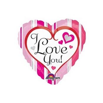 Palloncino Mylar Mini Shape 22 cm. Pink Stripes Love You