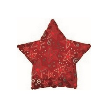 Palloncino Mylar Mini Shape 22 cm. Red Patterned Star