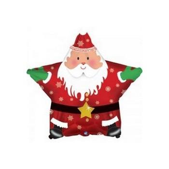 Palloncino Mylar Mini Shape 22 cm. Smiling Santa Star