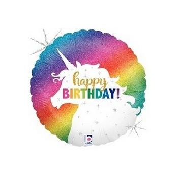Palloncino Mylar Mini Shape 22 cm. Unicorn Happy Birthday