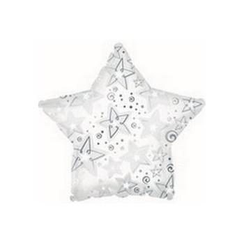 Palloncino Mylar Mini Shape 22 cm. White Patterned Star