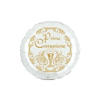 Palloncino Mylar Mini Shape 23 cm. Comunione Bianco / Oro