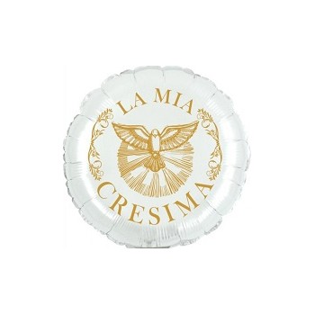 Palloncino Mylar Mini Shape 23 cm. Cresima Bianco / Oro
