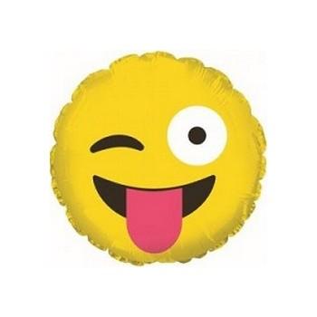 Palloncino Mylar Mini Shape 23 cm. Emoticon Tongue Out & Winking