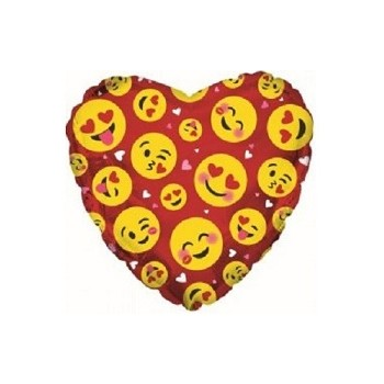 Palloncino Mylar Mini Shape 23 cm. Smile Faces Luv Red