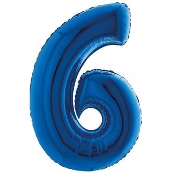 Palloncino Mylar Numero Maxi Blu 6 - 100 cm.