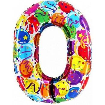 Palloncino Mylar Numero Maxi Multicolor 0 - 100 cm.