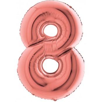 Palloncino Mylar Numero Maxi Rosa Antico 8 - 100 cm.