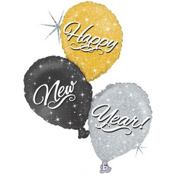 Palloncino Mylar Super Shape 101 cm. Holographic Happy New Year Trio