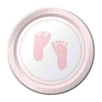 Coordinato Baby Shower Bambina - Piatto Carta 18 cm. - 8 Pz.