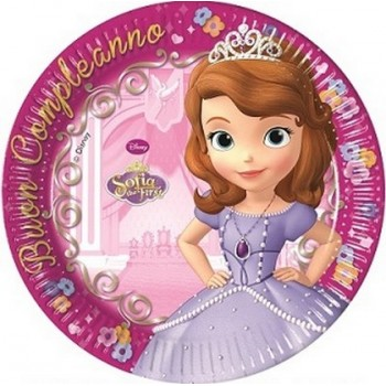 Coordinato Principessa Sofia Buon Compleanno - Piatto Carta 20 cm. - 8 pz.