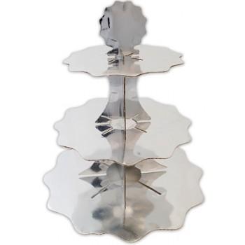 Alzatina in cartoncino - 3 piani - h. 35 cm Argento
