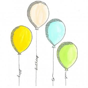 Biglietti Auguri - Compleanno Palloncini Colorati 15,5 x 15,5 cm.