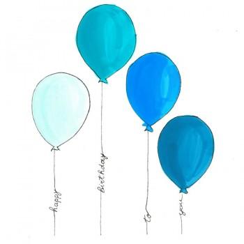 Biglietti Auguri - Compleanno Palloncini Colorati Bimbo 15,5 x 15,5 cm.