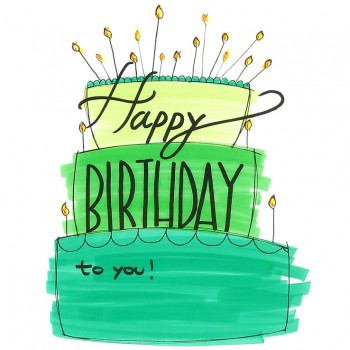 Biglietti Auguri - Compleanno Torta Verde 15,5 x 15,5 cm.