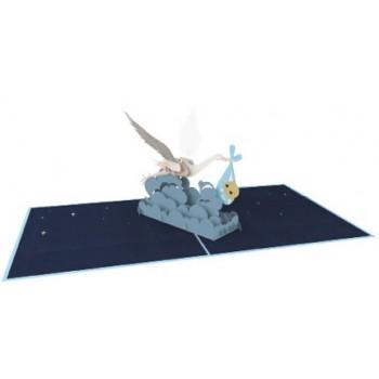 Biglietti Auguri Origami - Cicogna Azzurra 15,5 x 15,5 cm.